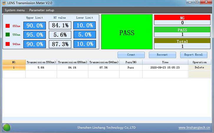 spectrum transmission meter PC software