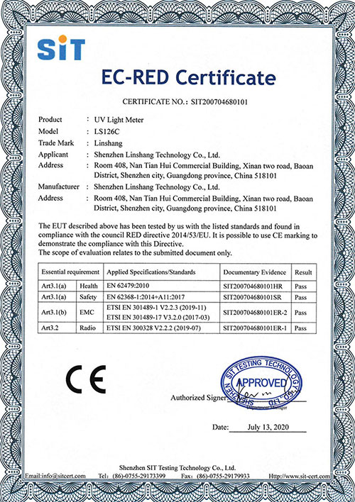126C UV light meter EC-RED Certificate