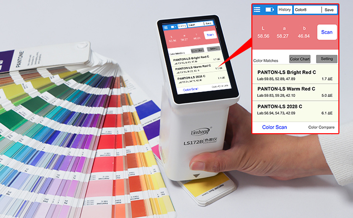 built-in electronic color charts