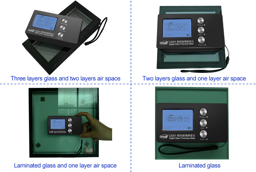LS201 digital glass thickness meter measure the glass