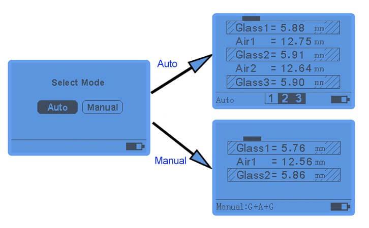 LS201 digital glass thickness meter display interface