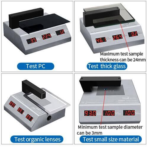 LS108H visible light transmission meter test different materials