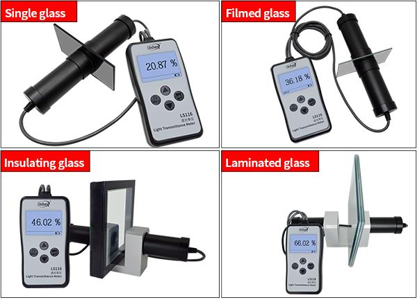 LS116 visible light transmittance meter test different materials