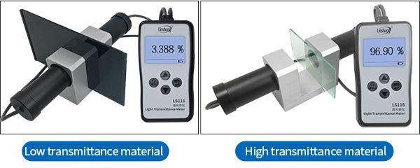 LS116 light transmittance meter test low and high transmittance materials