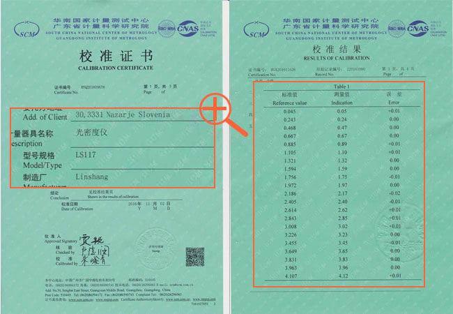 Calibration report