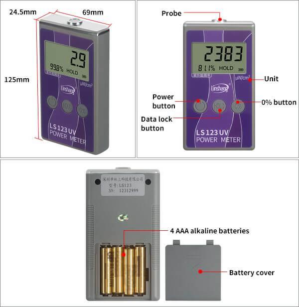 LS123 UV lamp intensity meter appearance