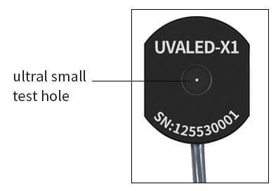 UVALED-X1 probe test aperture
