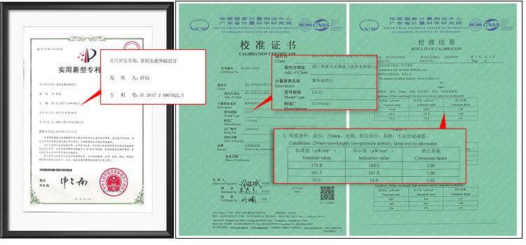UV light meter certificates