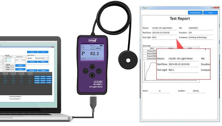 UV light meter PC software