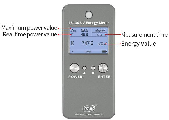 LS130 UV energy tester statistics function display