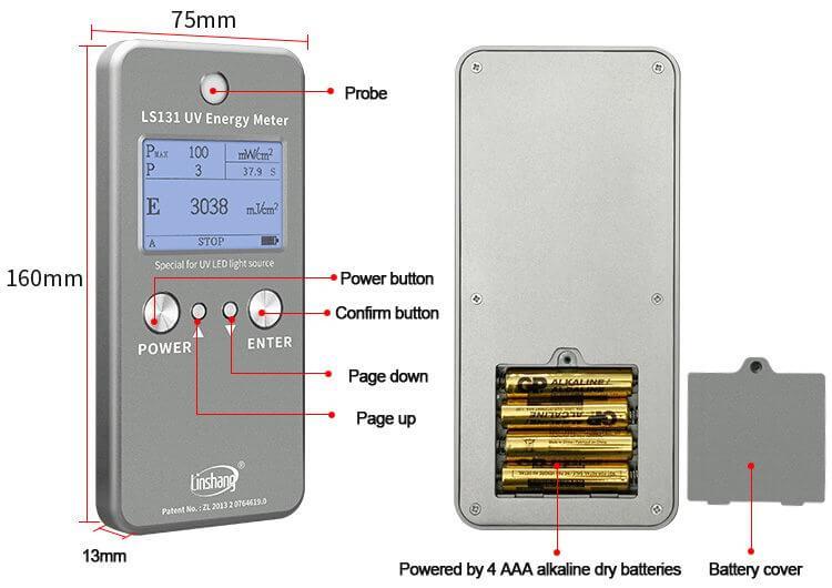 LS131 UV energy meter display