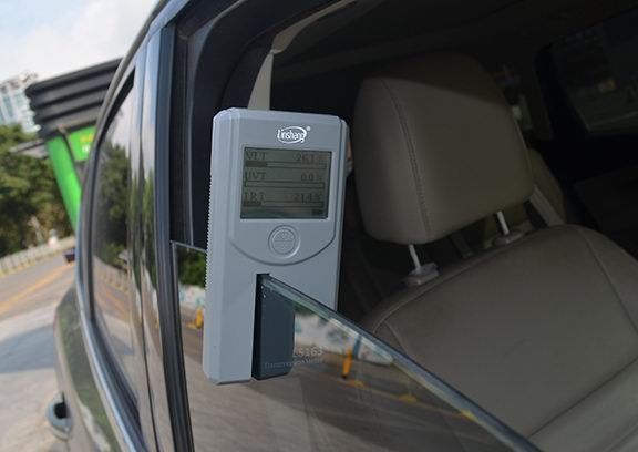 solar film tester test car side windshield