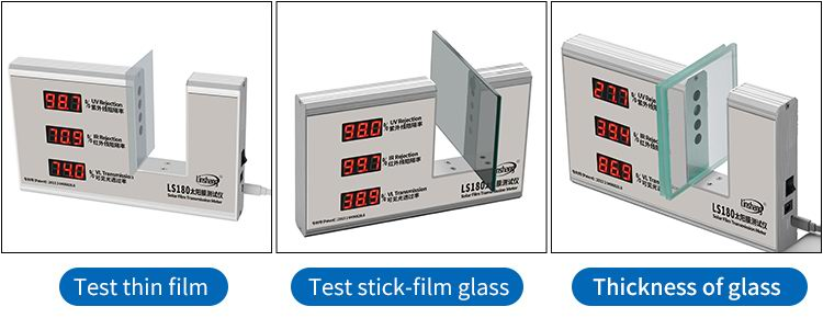 LS180 window tint detector test different materials