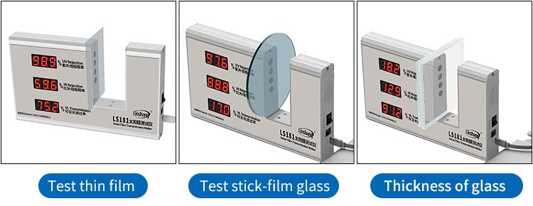 LS181 window tint detector test different materials