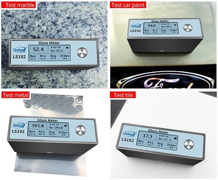 LS192 digital gloss meter test different materials