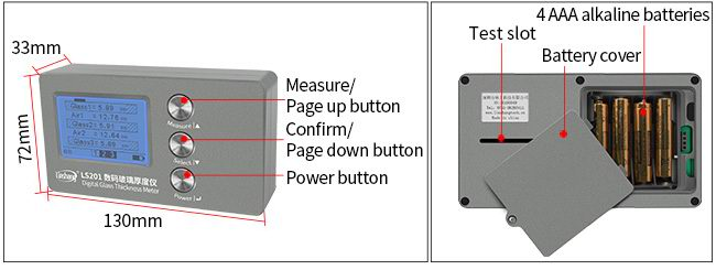 LS201 glass thickness meter appearance