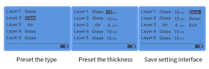 LS201 glass thickness meter manual mode setting