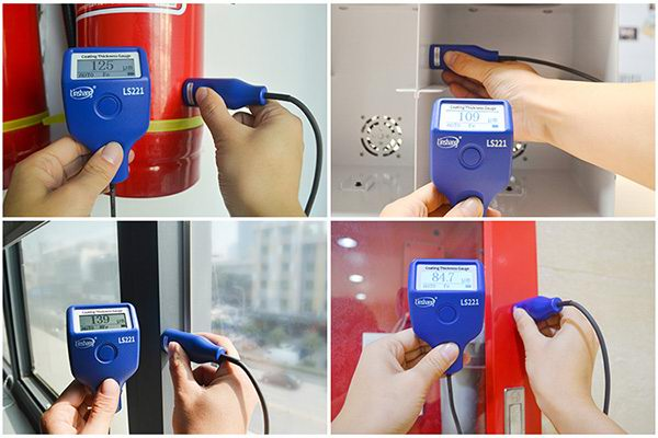 LS221 digital paint thickness gauge test different materials