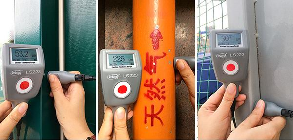 LS223 coating thickness gauge test different materials