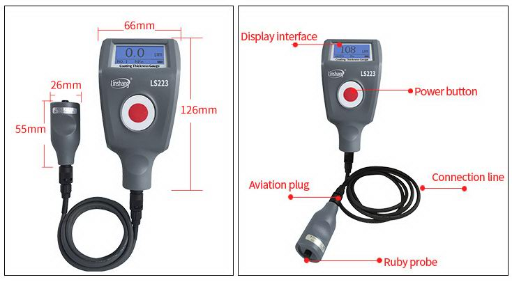 LS223 painting thickness meter dimension