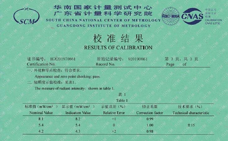 UV power puck calibration report