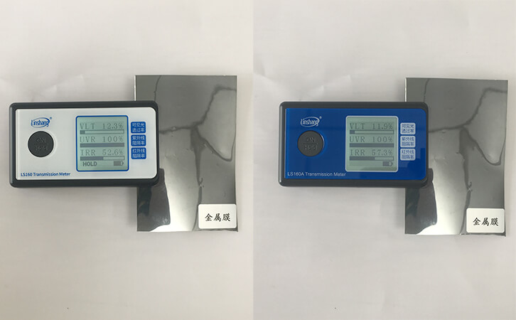 What is the Data Difference between 940nm and 1400nm Tint Meters for Testing the Same Film?