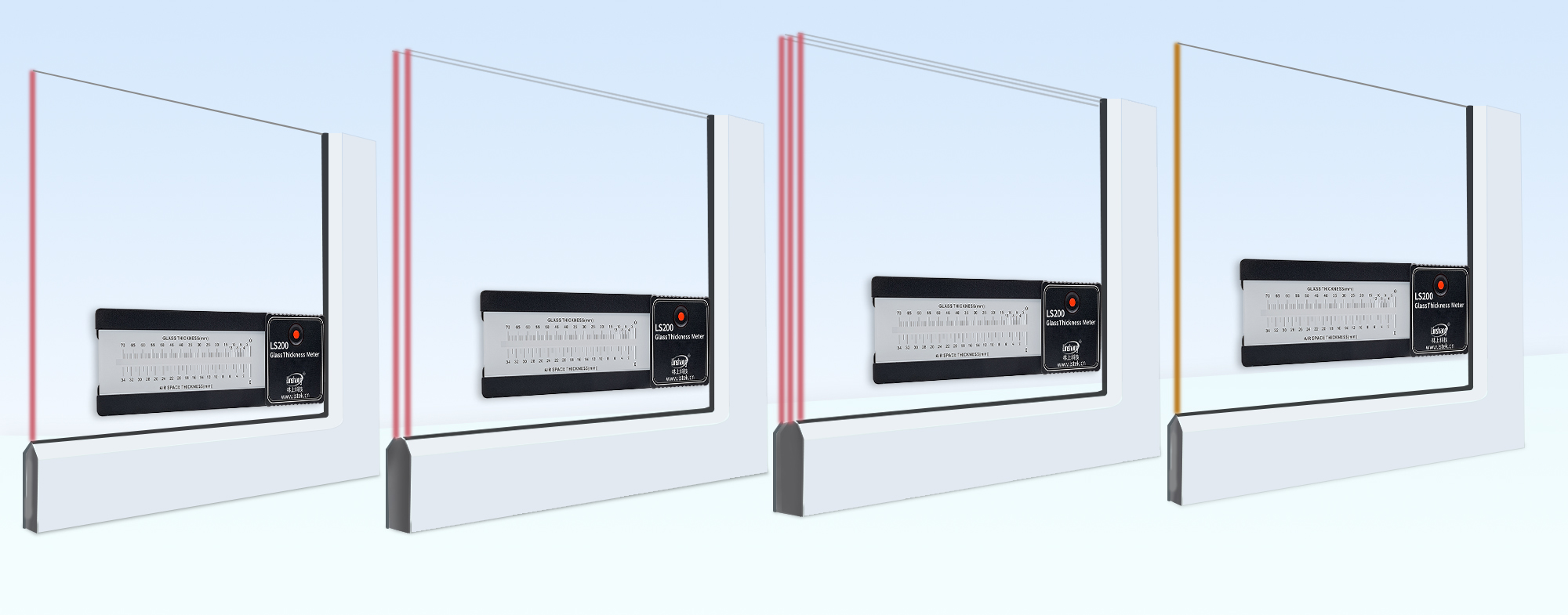LS200 glass thickness meter test glass