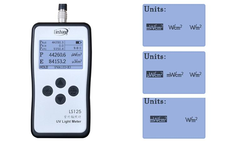 LS125 UV Intensity Meter switch the UV intensity unit