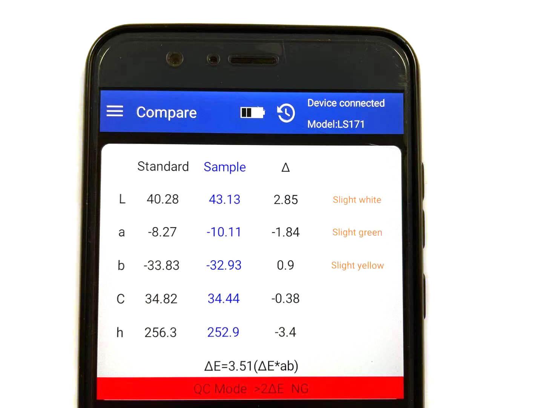 color meter App interface