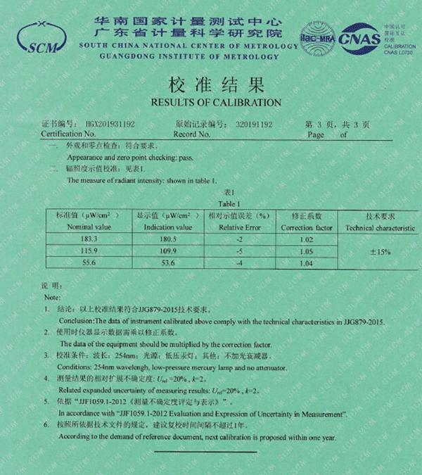 UV radiation meter calibration report