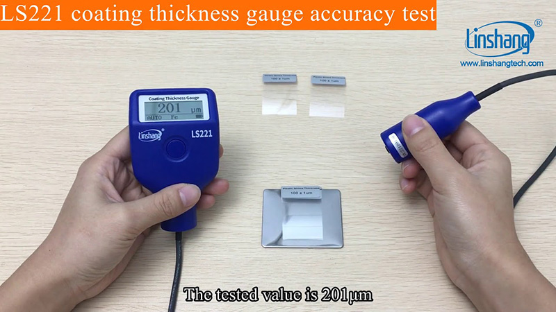 LS221 coating thickness gauge accuracy test